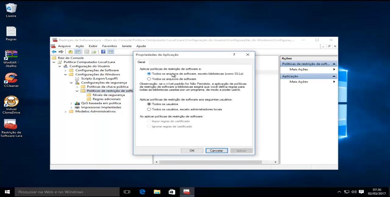 bloqueio de probramas no windows 10