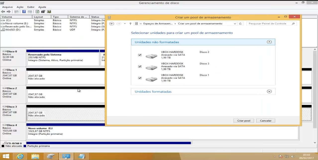 espaço de armazenamento windows 8.1