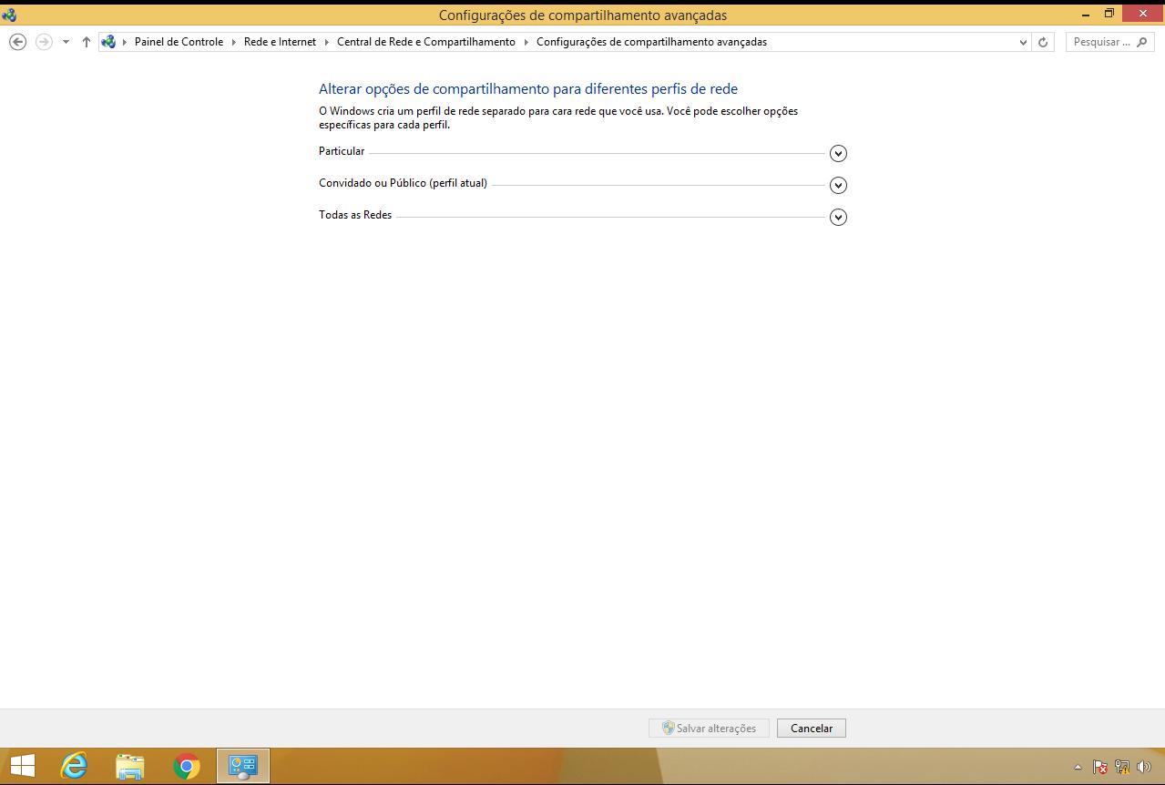 configurações avançadas de rede no windows 8.1